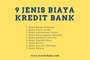 jenis biaya kredit di bank