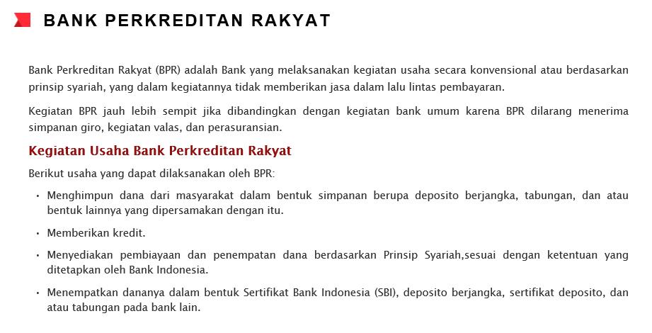 PENGERTIAN BANK PERKREDITAN RAKYAT