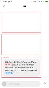 Notifikasi Transaksi Cashbac