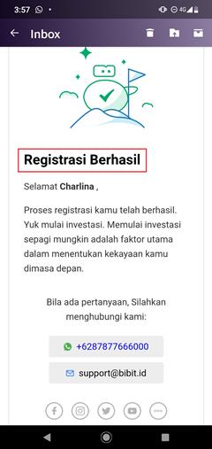 registrasi bibit berhasil