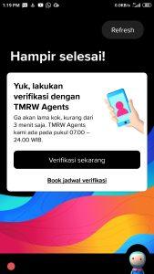 verifikasi rekening tmrw