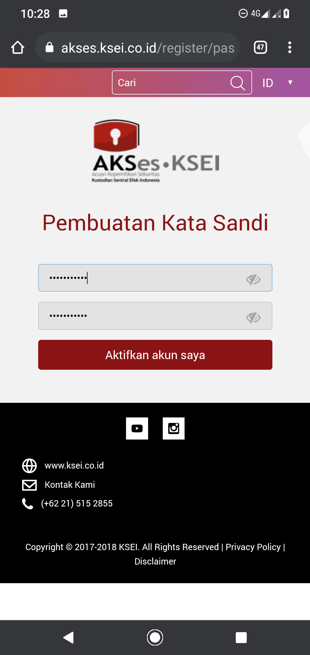 buat password akses ksei