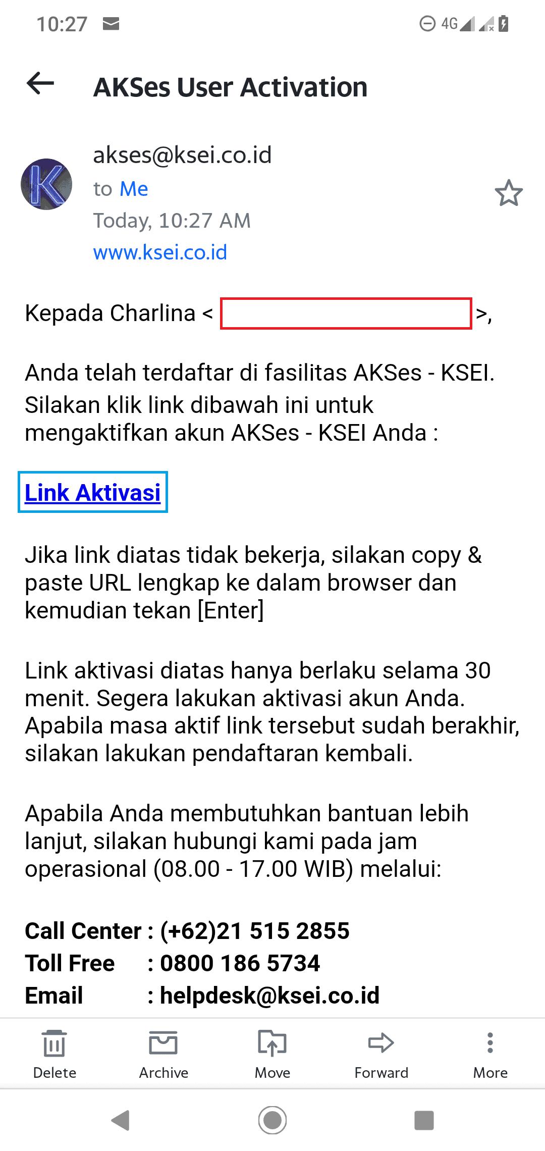 email aktivasi akses ksei