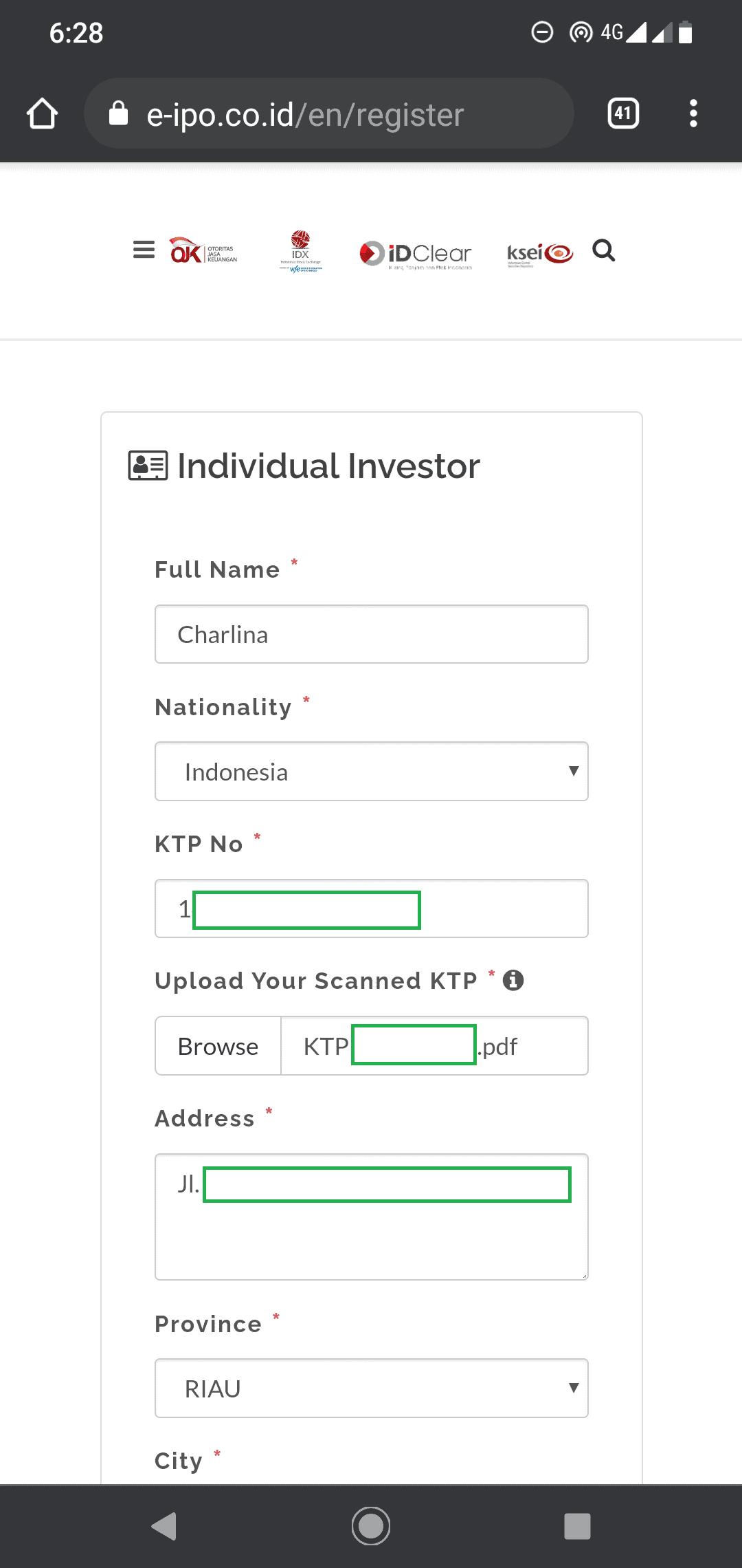 isian investor individu